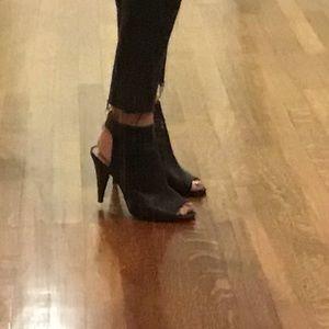 Open toe black leather booties